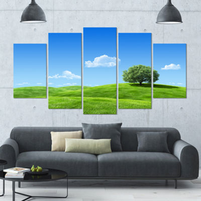 Designart Calm Meadow With Single Tree LandscapeLarge Canvas Art Print - 5 Panels