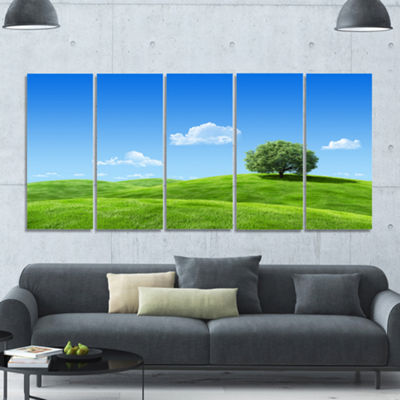 Designart Calm Meadow With Single Tree LandscapeCanvas Art Print - 5 Panels