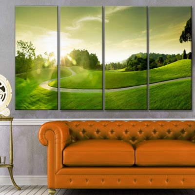 Designart Green Valley Panorama Landscape CanvasArt Print -4 Panels