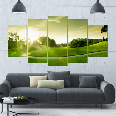 Designart Green Valley Panorama Landscape Large Canvas Art Print - 5 Panels