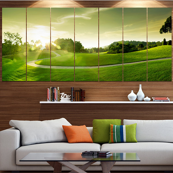 Designart Green Valley Panorama Landscape CanvasArt Print -7 Panels