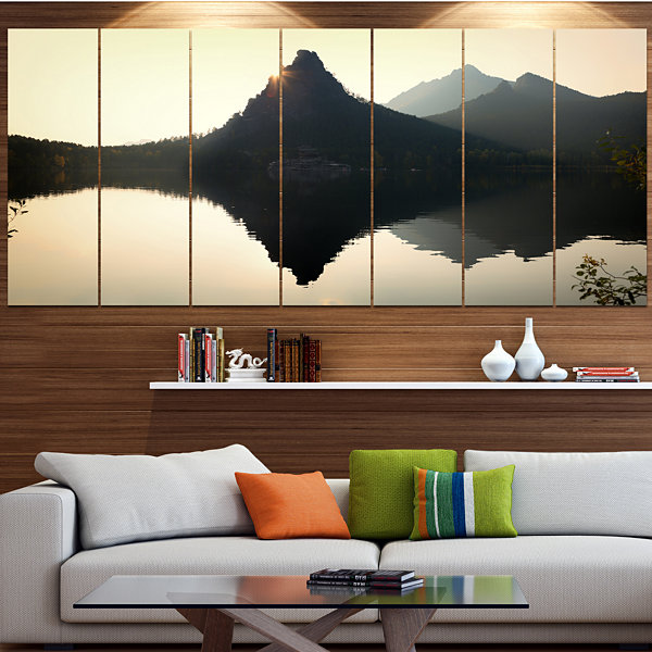 Designart National Park Burabay At Sunset Landscape Canvas Art Print - 6 Panels