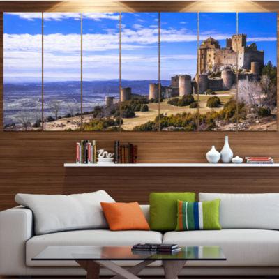 Designart Medieval Loarre Castle Panorama Landscape Large Canvas Art Print - 5 Panels