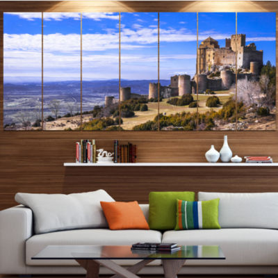 Medieval Loarre Castle Panorama Landscape Canvas Art Print - 7 Panels