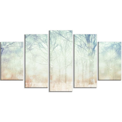 Winter With Foggy Forest Landscape Large Canvas Art Print - 5 Panels