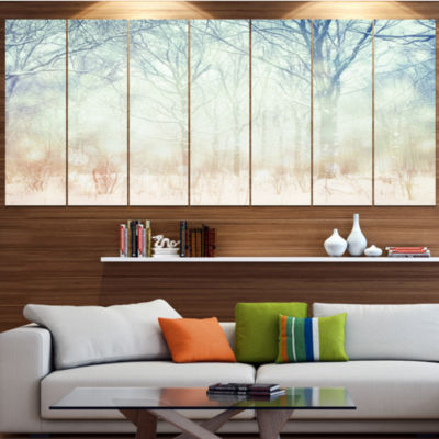 Designart Winter With Foggy Forest Landscape LargeCanvas Art Print - 5 Panels