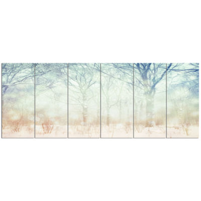 Winter With Foggy Forest Landscape Canvas Art Print - 6 Panels
