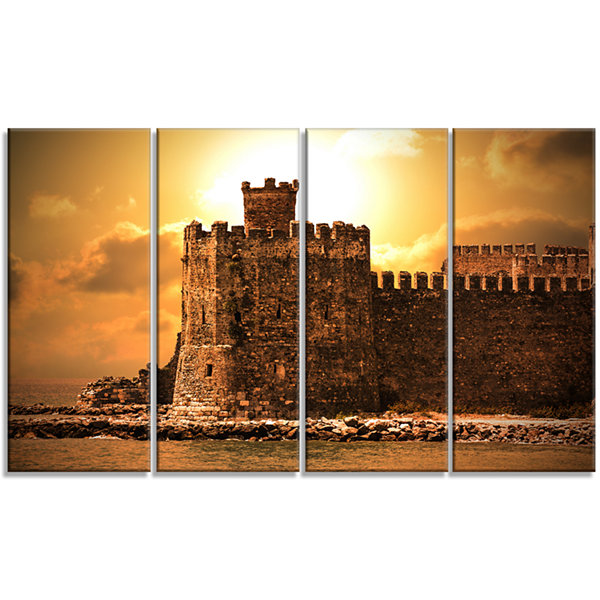 Designart Old Castle At Sunset Landscape Canvas Art Print -4 Panels