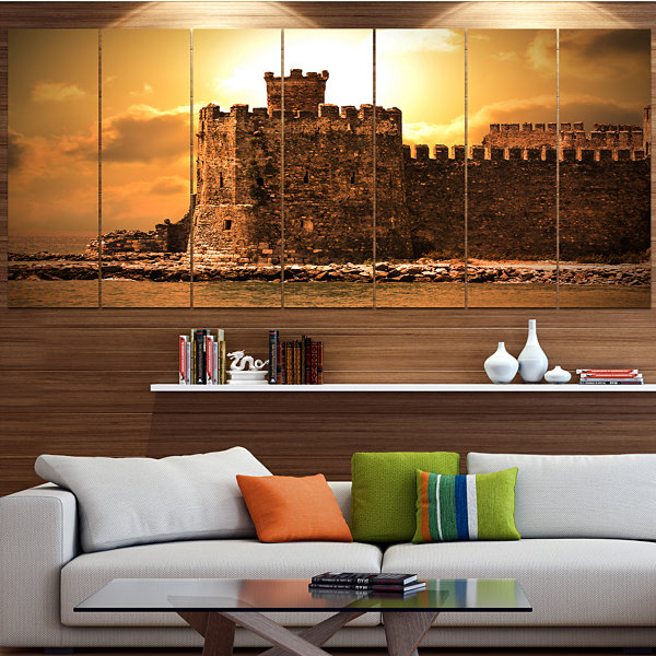 Designart Old Castle At Sunset Landscape Large Canvas Art Print - 5 Panels