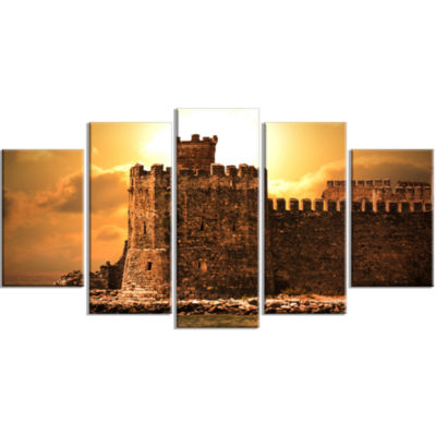 Old Castle At Sunset Landscape Large Canvas Art Print - 5 Panels