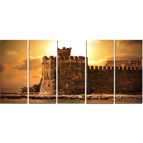 Designart Old Castle At Sunset Landscape Canvas Art Print -5 Panels