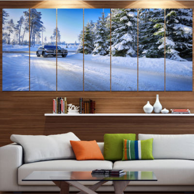 Designart Suv Car Though Snowy Winter Landscape Large Canvas Art Print - 5 Panels
