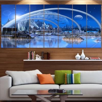 Designart Blue Fantasy Landscape Landscape LargeCanvas Art Print - 5 Panels