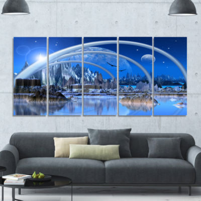 Blue Fantasy Landscape Landscape Canvas Art Print- 5 Panels