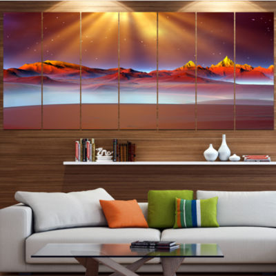 Designart Alien Landscape At Sunset Landscape Canvas Art Print - 4 Panels