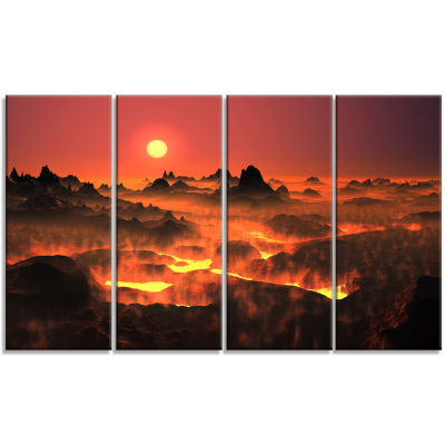 Burning Volcano Country Landscape Canvas Art Print- 4 Panels