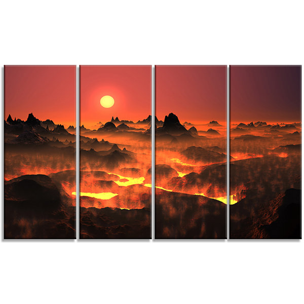 Designart Burning Volcano Country Landscape CanvasArt Print- 4 Panels