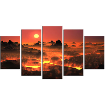 Burning Volcano Country Landscape Large Canvas ArtPrint - 5 Panels