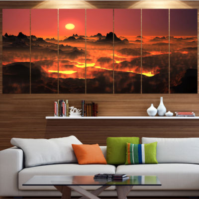 Designart Burning Volcano Country Landscape CanvasArt Print- 6 Panels