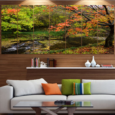 Designart Fall Trees In Bright Colors Landscape Large Canvas Art Print - 5 Panels