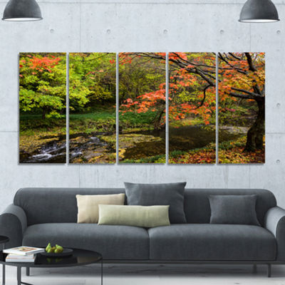 Designart Fall Trees In Bright Colors Landscape Canvas Art Print - 5 Panels