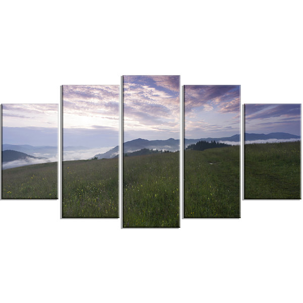 Designart Mountain Plateau At Evening Landscape Large Canvas Art Print - 5 Panels