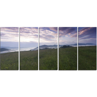 Designart Mountain Plateau At Evening Landscape Canvas Art Print - 5 Panels