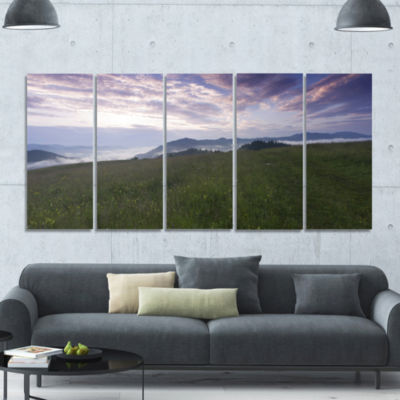 Mountain Plateau At Evening Landscape Canvas Art Print - 5 Panels