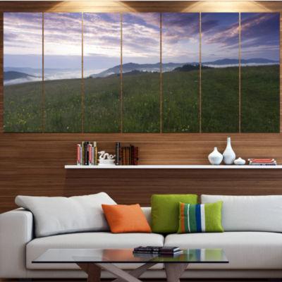Mountain Plateau At Evening Landscape Canvas Art Print - 7 Panels