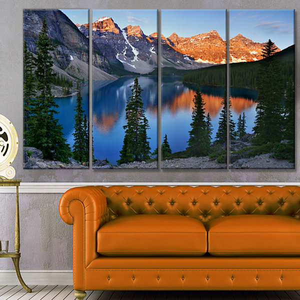 Designart Beautiful Moraine Lake Canada LandscapeCanvas Art Print - 4 Panels
