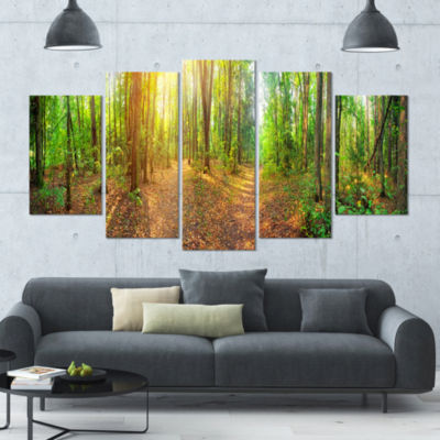 Dense Forest Panorama Landscape Large Canvas Art Print - 5 Panels