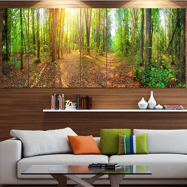 Designart Dense Forest Panorama Landscape Large Canvas Art Print - 5 Panels