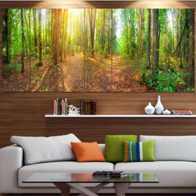 Designart Dense Forest Panorama Landscape CanvasArt Print -5 Panels