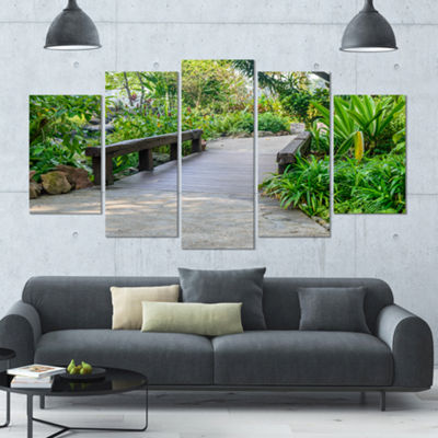 Designart Stone Pathway Into Garden Landscape Large Canvas Art Print - 5 Panels