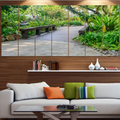 Designart Stone Pathway Into Garden Landscape Canvas Art Print - 5 Panels