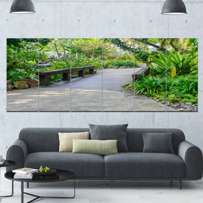 Designart Stone Pathway Into Garden Landscape Canvas Art Print - 6 Panels