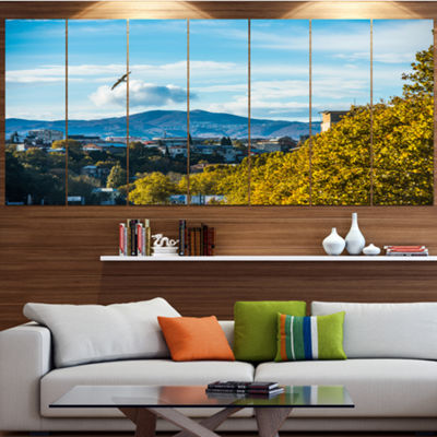 Designart Old Town And Hills In Tbilisi LandscapeCanvas Art Print - 4 Panels