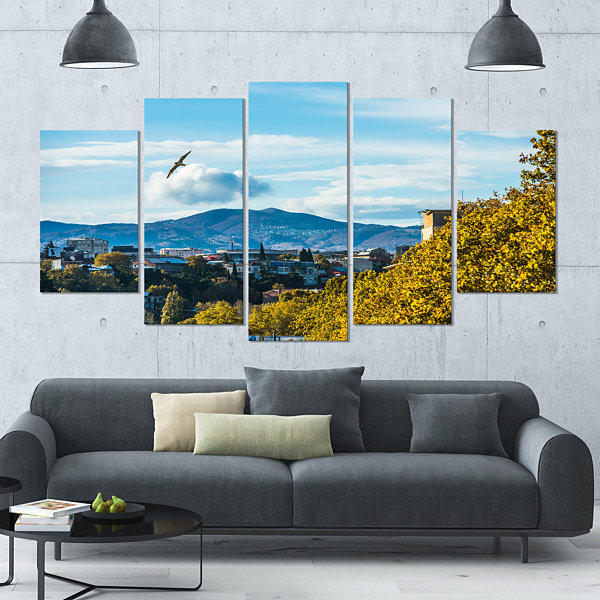 Design Art Old Town And Hills In Tbilisi LandscapeLarge Canvas Art Print - 5 Panels