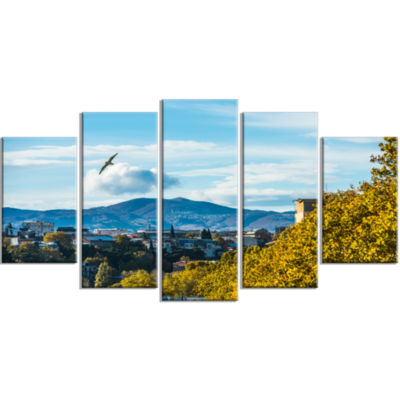 Old Town And Hills In Tbilisi Landscape Large Canvas Art Print - 5 Panels