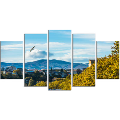 Designart Old Town And Hills In Tbilisi LandscapeLarge Canvas Art Print - 5 Panels