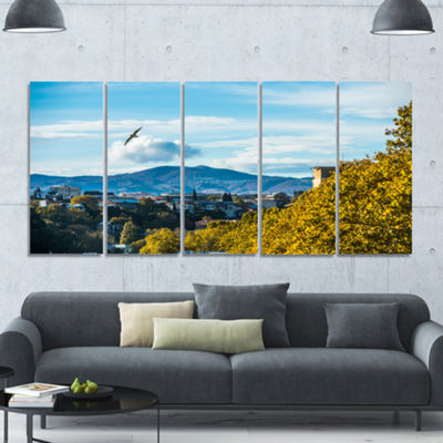 Designart Old Town And Hills In Tbilisi LandscapeCanvas Art Print - 5 Panels