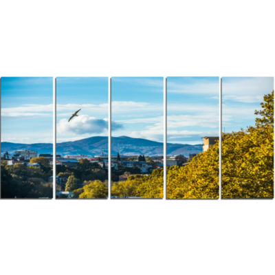 Old Town And Hills In Tbilisi Landscape Canvas ArtPrint - 5 Panels