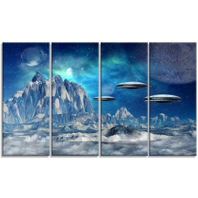 Designart Blue Alien Planet Landscape Canvas ArtPrint - 4 Panels