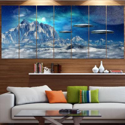 Designart Blue Alien Planet Landscape Canvas ArtPrint - 7 Panels