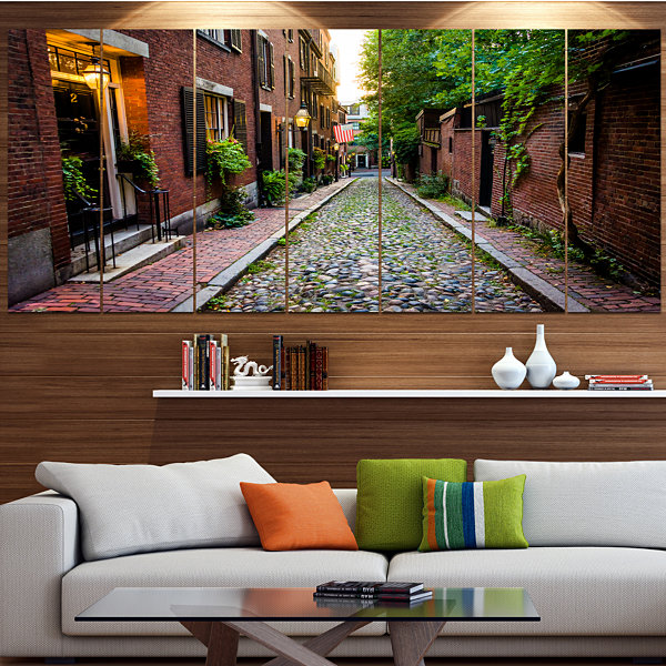 Designart Acorn Street Massachusetts Landscape Canvas Art Print - 4 Panels