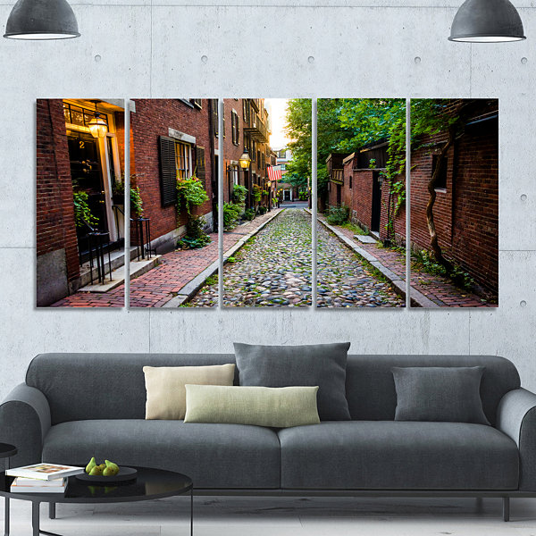 Designart Acorn Street Massachusetts Landscape Canvas Art Print - 5 Panels