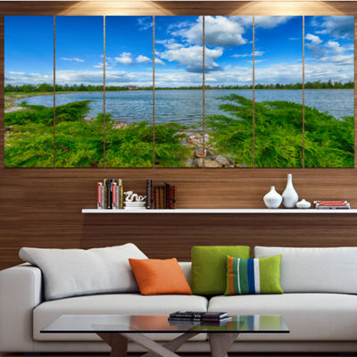 Designart Landscape With Green And Waters Landscape Canvas Art Print - 6 Panels