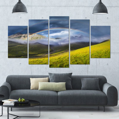 Designart Rainbow In Mountain Valley Landscape Large Canvas Art Print - 5 Panels