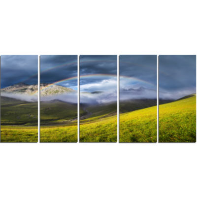 Rainbow In Mountain Valley Landscape Canvas Art Print - 5 Panels