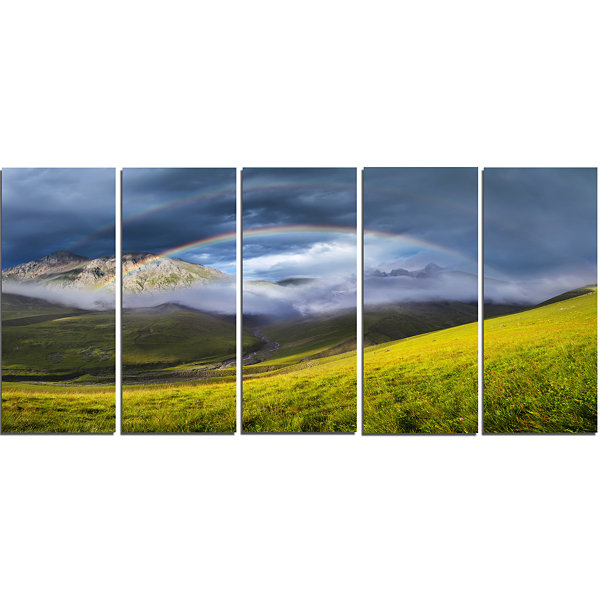Design Art Rainbow In Mountain Valley Landscape Canvas Art Print - 5 Panels